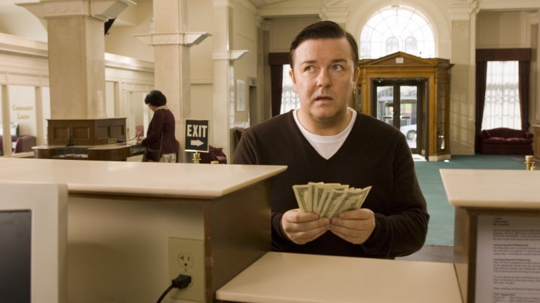 "O ator Ricky Gervais em cena do filme ""The Invention of Lying"""