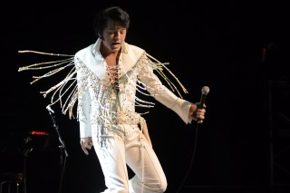Elvis tribute artist Matthew Boyce performs during the preliminary round of the