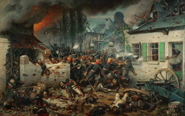 "Reprodução do quase ""Attacking the Prussians in Plancenoit in the Battle of Waterloo"", do pintor alemão Adolf Northern"