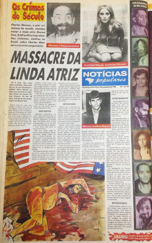 """Em 9 de setembro de 1993, o """"Notícias Populares"""" publica a história do assassinato da atriz Sharon Tate"""