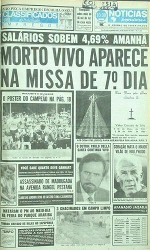 """Em 31 de agosto de 1987, o """"Notícias Populares"""" publicou o caso de Valter Custódio da Silva"""