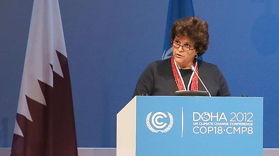 Ministra do Meio Ambiente Izabella Teixeira, em discurso na COP-18, sediada em Dohan Qatar