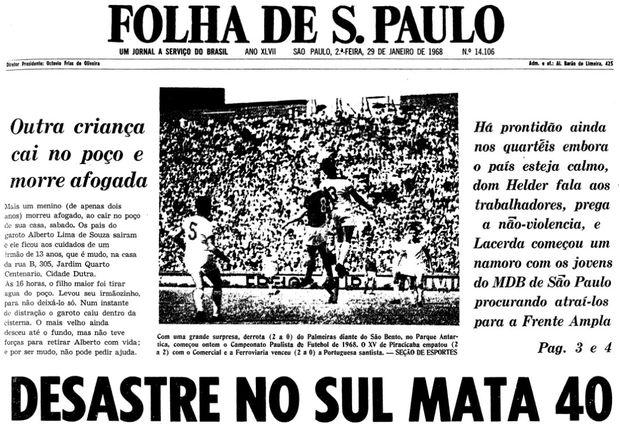 Primeira página da Folha de S.Paulo de 29 de janeiro de 1968. (Foto: Folhapress)
