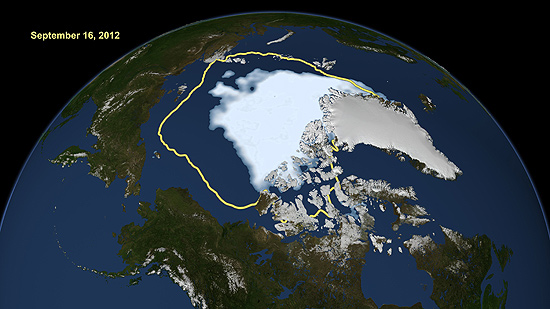 Imagem mostra o atual recorde de baixa do gelo do Ártico em relação à média de gelo do verão (em amarelo).
