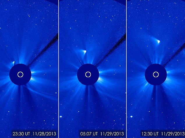 Montagem de fotos do satélite Soho, da Nasa, mostra o cometa Ison após sua aproximação máxima do Sol; parte do seu núcleo pode ter sobrevivido ao encontro solar
