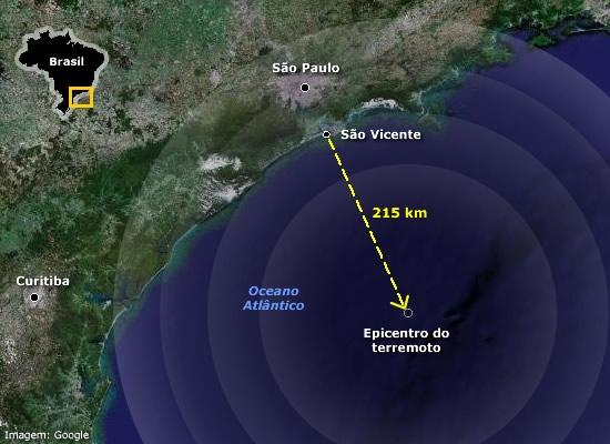 Localização do epicentro do terremoto que atingiu o Brasil no dia 22 de abril de 2008