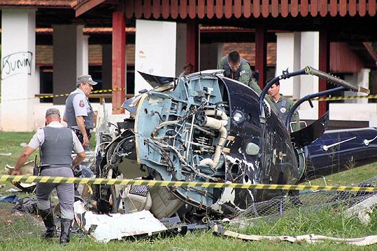 Helicóptero de Marrone ficou destruído após cair no recinto de exposições de São José do Rio Preto