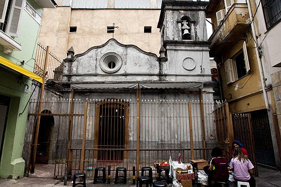 Fachada da Capela dos Aflitos, no beco dos Aflitos, no bairro da Liberdade, região central de São Paulo