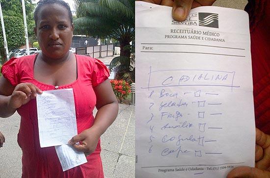À esq., a dona de casa Adriana Santos, em Salvador; à dir., receita que indica a `cadialina
