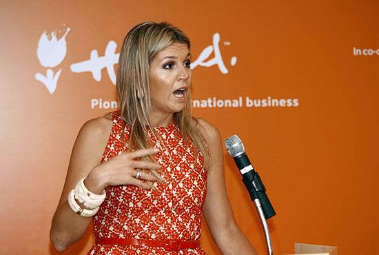 A princesa Máxima, da Holanda, durante evento na FEA, da USP de Ribeirão Preto (SP)