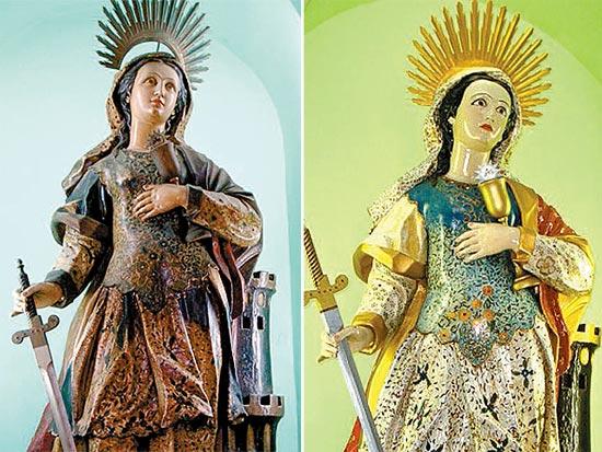 Imagem de Santa Bárbara antes do polêmico restauro (à esq.); nova 'cara' da santa foi considerada grotesca por especialista