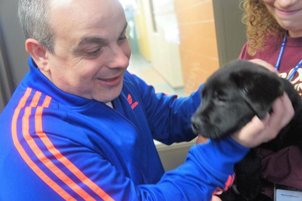 O advogado Marcelo Panico, 47, com um dos filhotes que será treinado para ser cão-guia, no centro de treinamento em Michigan