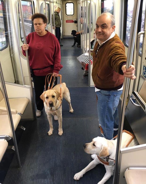 Liana e Marcelo com os cães-guia no metrô a caminho do aeroporto, na volta dos EUA