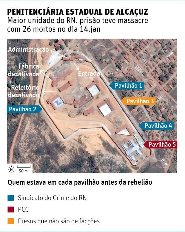 PENITENCIÁRIA ESTADUAL DE ALCAÇUZMaior unidade do RN, prisão teve massacre com 26 mortos no dia 14.jan