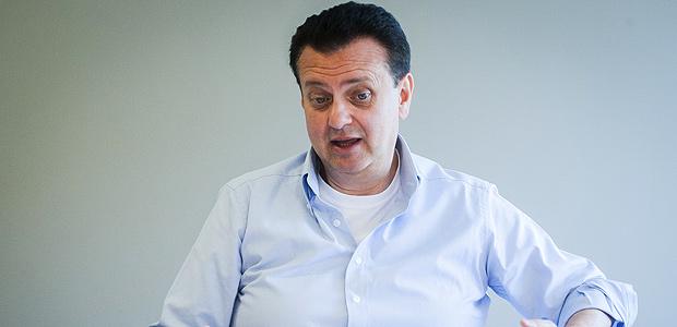 O candidato ao senado pelo PSD e ex-prefeito de Sao Paulo, Gilberto Kassab, durante entrevista na sede do partido na regiao central de SP.