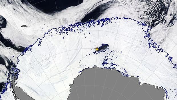 A área onde fica a abertura, em uma imagem de de satélite da Nasa | Foto: Soccom