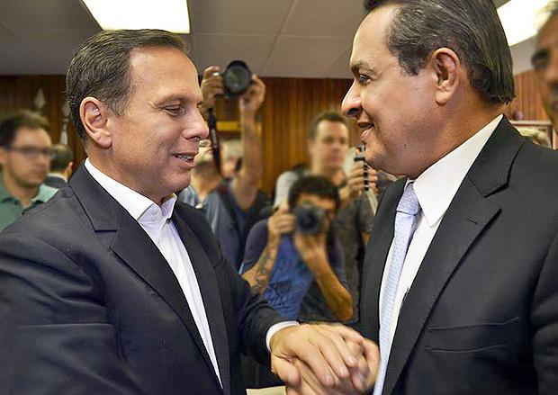 Vereador Souza Santos (PRB) e prefeito João Doria (PSDB) em evento