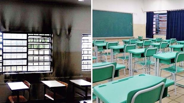 Antes e depois uma sala de aula da Darcy Ribeiro, escola ganhou doações de materiais e foi revitalizada pela própria comunidade