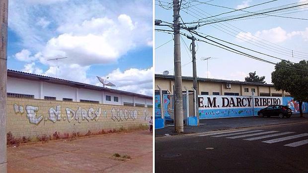 A fachada da escola antes e depois embelezamento fez parte da estratégia de recuperação