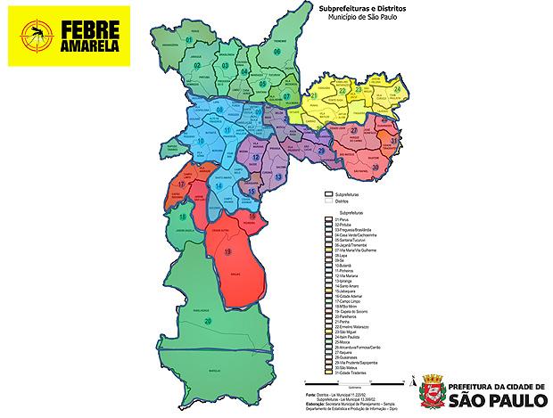Divisão das fases da vacinação contra a febre amarela: fase 1 (verde), fase 2 (vermelha), fase 3 (amarelo), fase 4 (azul) e fase 5 (roxo)