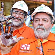 Lula e José Gabrielli, presidente da Petrobras, no início da produção no pré-sal