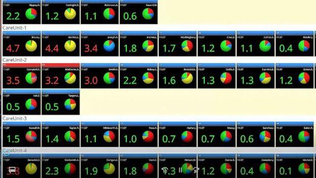 O software WAVE: cada caixinha representa um paciente