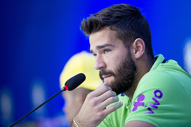 Brazil's goalkeeper Alisson listens to a question during a press conference in Teresopolis, Brazil, Tuesday, March 22, 2016. Brazil will face Uruguay on a World Cup qualifying soccer match in Recife on March 25. (AP Photo/Silvia Izquierdo) ORG XMIT: XSI106