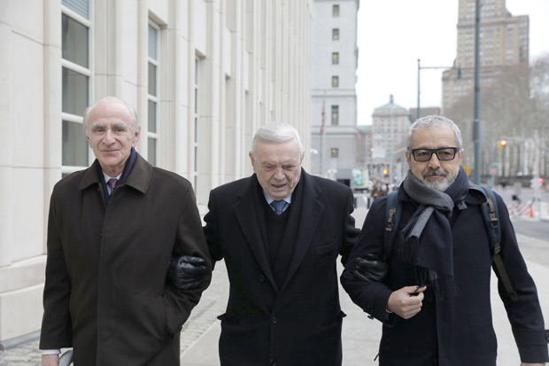 Former head of Brazilian Football Confederation (CBF) Jose Maria Marin, (C), defendant in the FIFA corruption trial, arrives at United States Federal Court in Brooklyn, New York, U.S., December 22, 2017. REUTERS/Stephen Yang ORG XMIT: NYS002