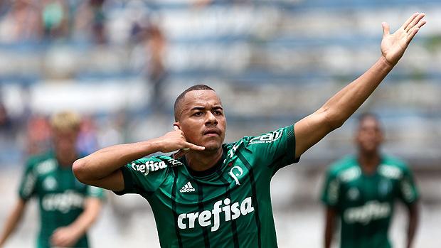 Papagaio comemora gol do Palmeiras em Taubaté pela Copa SP