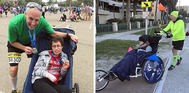 Peter Kline em fotos após término de corridas empurrando cadeiras de rodas