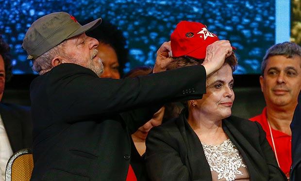 Os ex-presidentes Lula e Dilma Rousseff, no 6º Congresso do PT, em Brasília