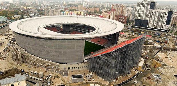 Arquibancada fora de arena da Copa ganha forma, e imagens chamam a atenção. Ekaterinburg Arena entra na reta final de reforma para o Mundial e vê surgir setores que ficam totalmente fora da cobertura do restante dos lugares, atendendo capacidade de público exigida. fifa/DIVULGACAO DIREITOS RESERVADOS. NÃO PUBLICAR SEM AUTORIZAÇÃO DO DETENTOR DOS DIREITOS AUTORAIS E DE IMAGEM