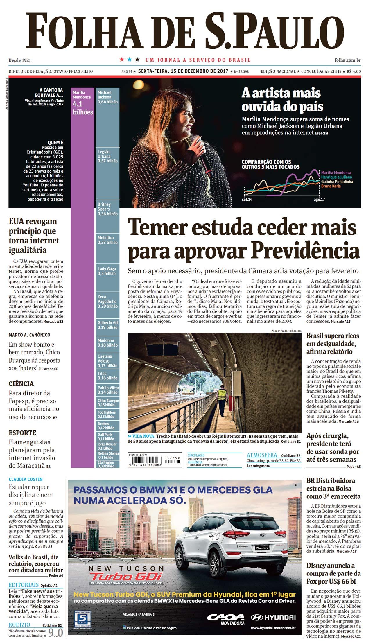 Capa Folha de S.Paulo - Edição Nacional 04b40831fe