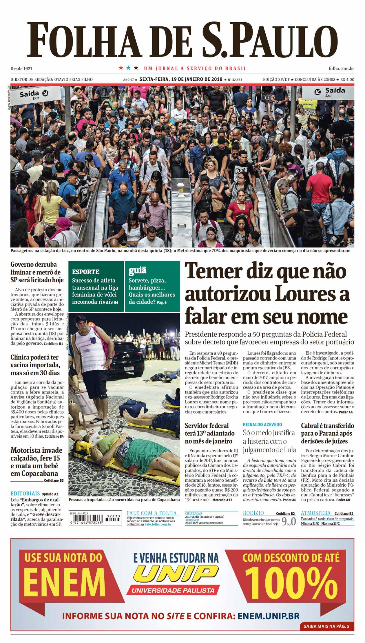 570636e3c Capa Folha de S.Paulo - Edição São Paulo