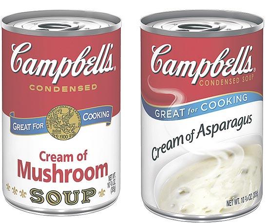 Desenhos dos rótulos antigo e novo da sopa Campbell's, imortalizada por Andy Warhol
