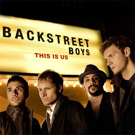 Integrantes da banda Backstreet Boys; AJ McLean é o terceiro da esquerda para a direita