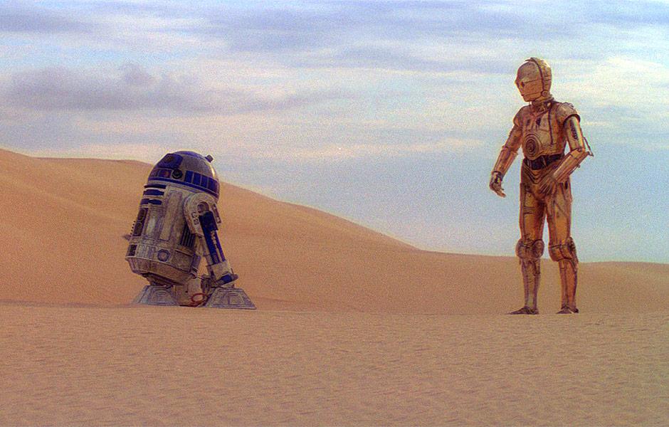 Resultado de imagem para star wars episode 4 c3po and r2 d2 tatooine skywalker