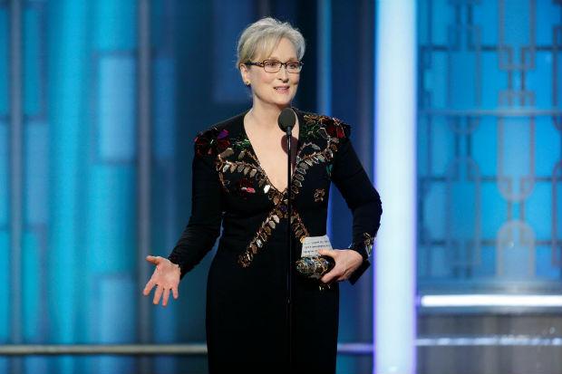 A atriz Meryl Streep discursa no Globo de Ouro