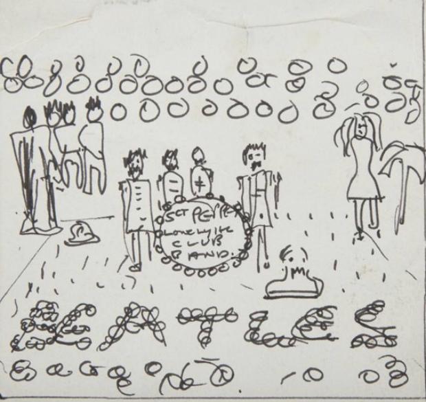 Esboço de capa feito por John Lennon, vendido por R$ 290 mil em um leilão