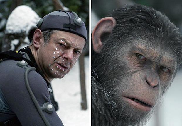 As expressões do ator Andy Serkis e de seu personagem, César, em 'Planeta dos Macacos: A Guerra