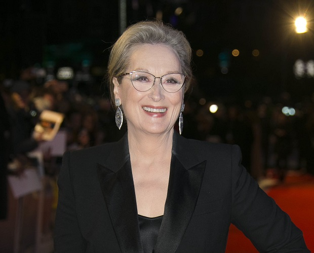"""FILE - In this Jan. 10, 2018 file photo, actress Meryl Streep poses for photographers at the premiere of """"The Post"""" in London. Streep will join the cast of HBO's """"Big Little Lies,"""" playing Mary Louise Wright, mother-in-law of Nicole Kidman's character Celeste Wright. (Photo by Joel C Ryan/Invision/AP, File) ORG XMIT: NYET317"""