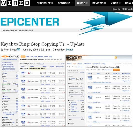 """Reprodução colocada no site da revista """"Wired"""", a fim de demonstrar a similaridade entre os sites"""