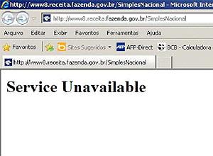 Reprodução do site do Simples Nacional, que apresenta problemas