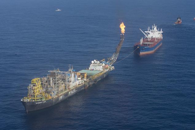 Plataforma da Petrobras no campo de Jubarte, no Espírito Santo, a 112 km da costa da capital capixaba