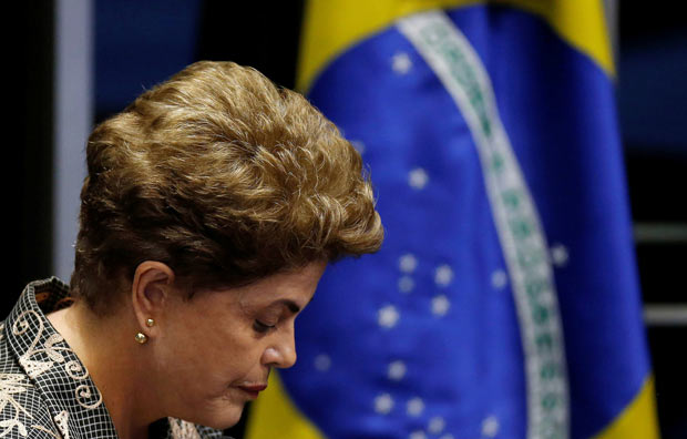 Brazil's suspended President Dilma Rousseff attends the final session of debate and voting on Rousseff's impeachment trial in Brasilia, Brazil, August 29, 2016. REUTERS/Ueslei Marcelino ORG XMIT: BRA121