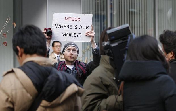 Protesto que ocorreu quando a corretora Mt. Gox perdeu bitcoins dos clientes