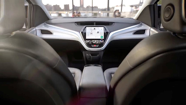 GM's planned Cruise AV driverless car features no steering wheel or pedals in a still image from video released January 12, 2018. General Motors/Handout via REUTERS. ATTENTION EDITORS - THIS IMAGE WAS PROVIDED BY A THIRD PARTY. NO SALES, NO ARCHIVES. ORG XMIT: hfs TOR506