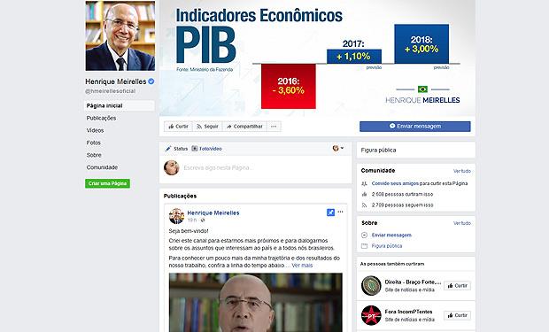 Perfil do ministro Henrique Meirelles no Facebook