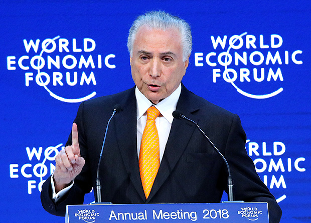 Brazil's President Michel Temer gestures as he speaks during the World Economic Forum (WEF) annual meeting in Davos, Switzerland January 24, 2018 REUTERS/Denis Balibouse ORG XMIT: DAV32