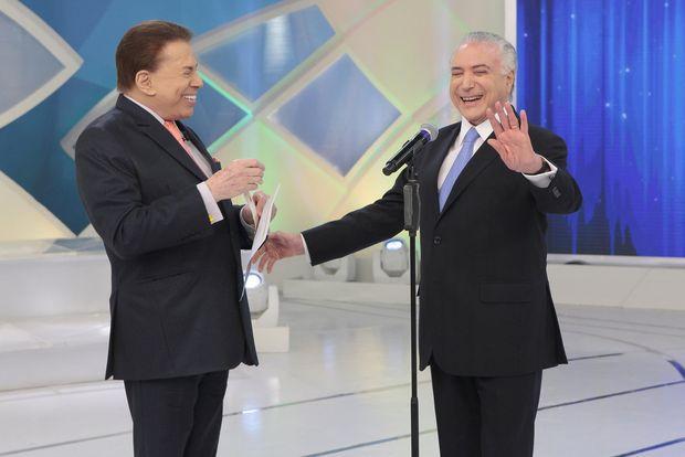 O presidente Michel Temer é entrevistado por Silvio Santos em seu programa no último domingo (26)